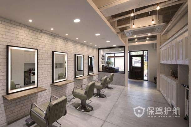 文化砖墙面理发店装修效果图