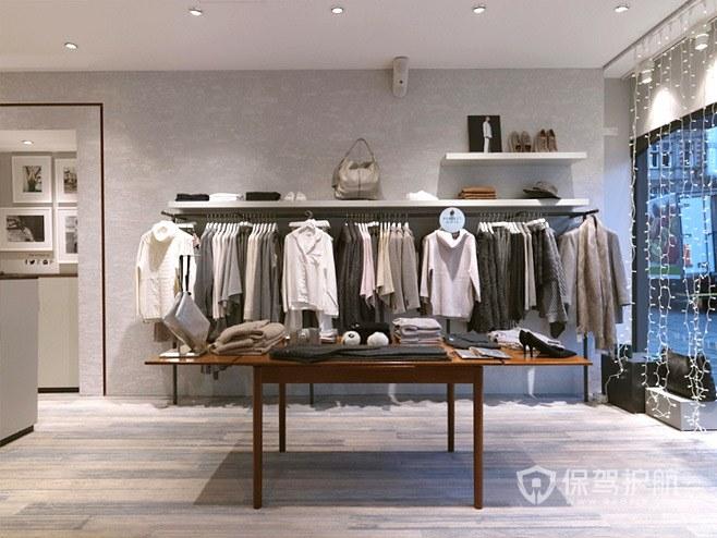时尚简约服装店室内展台货架设计
