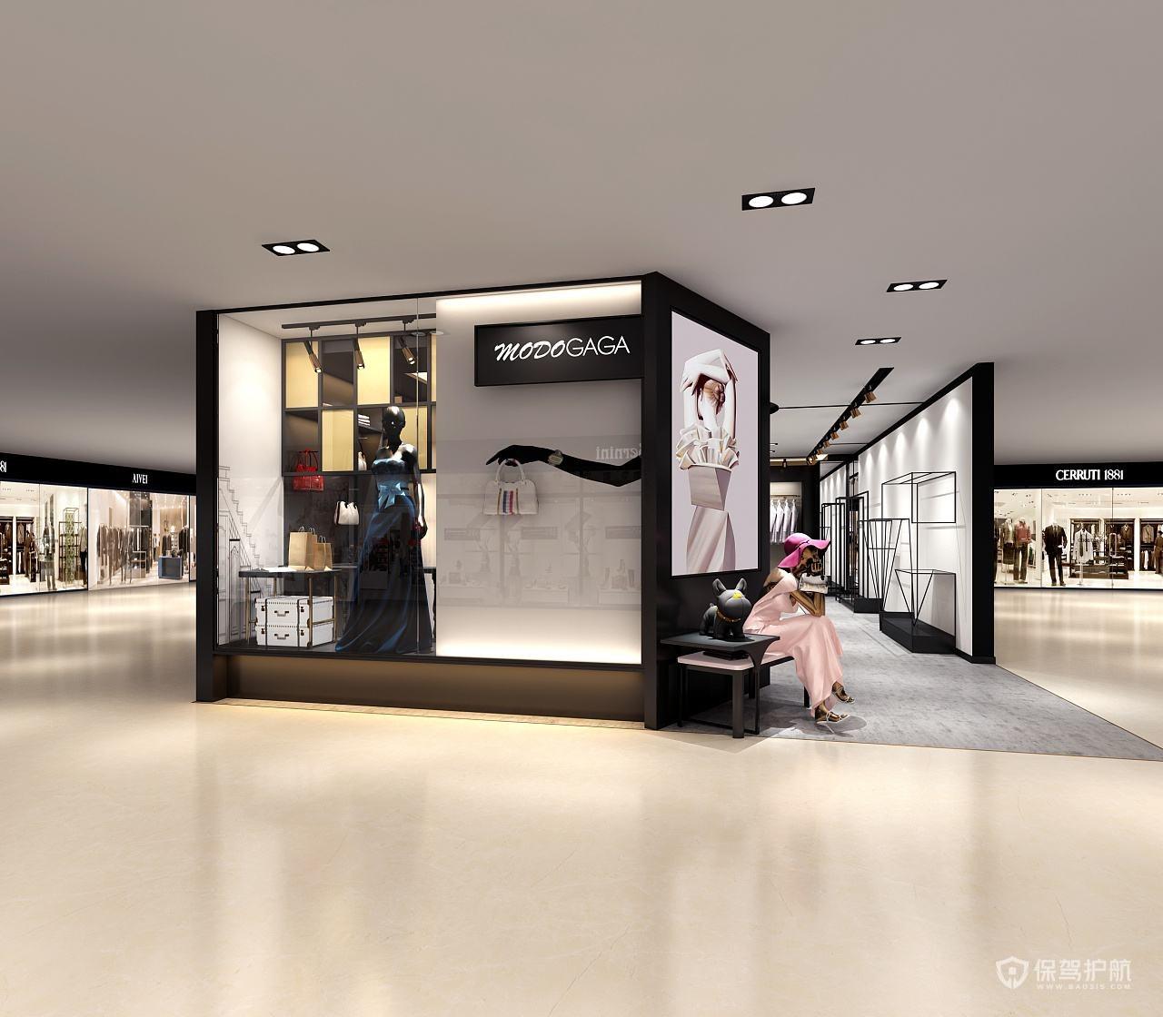 商场中央服装店铺装修实景图