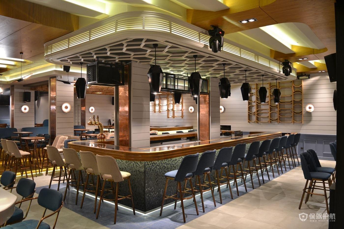 欧式咖啡馆卡座式吧台装修图