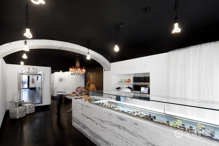 黑白風格大理石都市高級蛋糕店室內設…