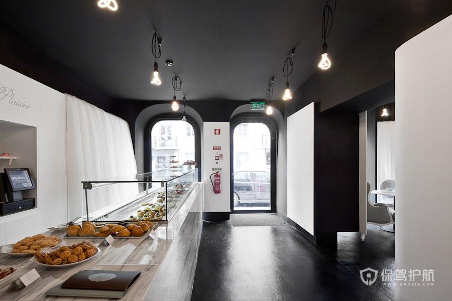 黑白风格大理石都市高级蛋糕店室内设…