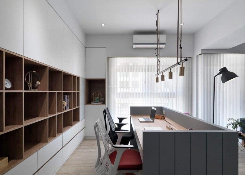 书房两张书桌如何摆放? 书房书桌如何装修设计?