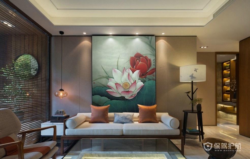 中式水墨画背景墙客厅效果图