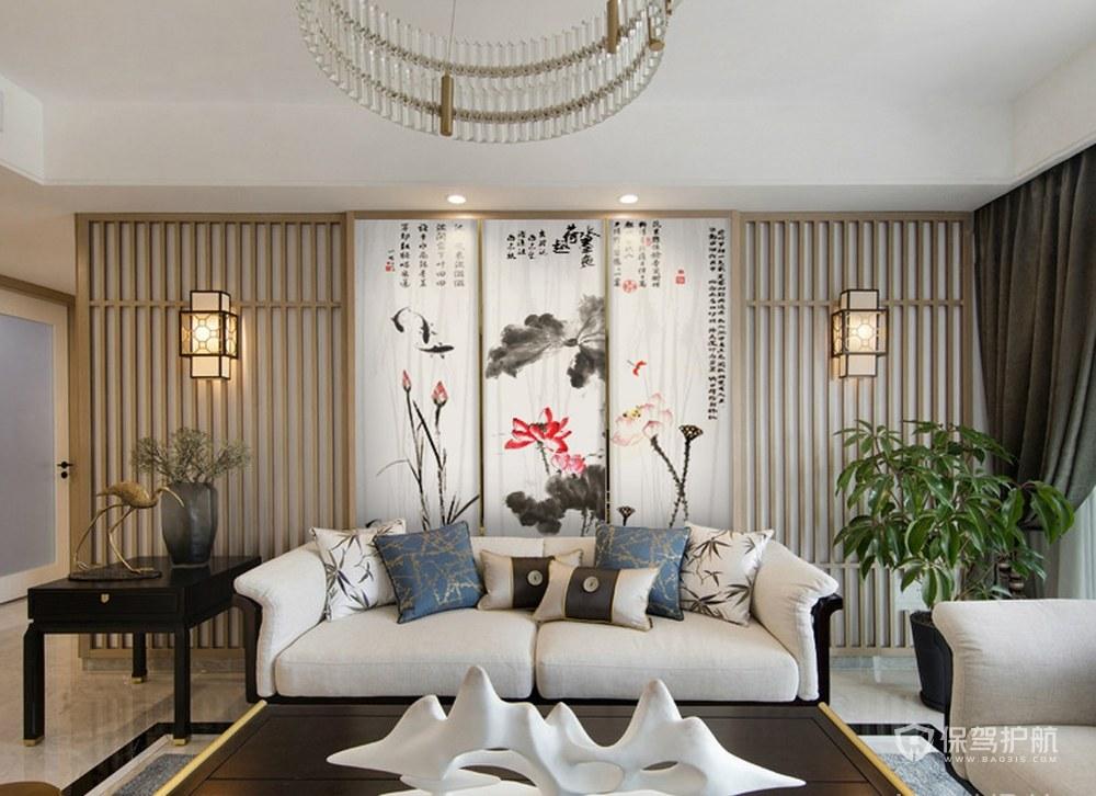 新中式禪意客廳裝修實景圖