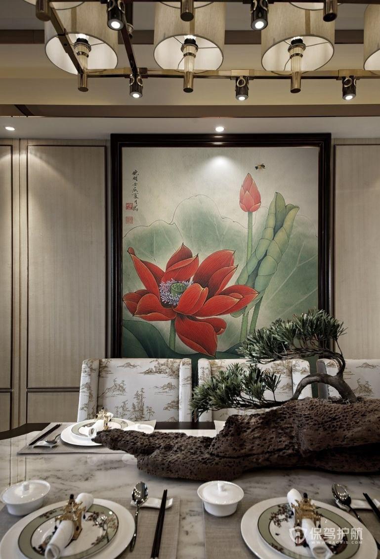 中式禅意水墨画餐厅装修实景图