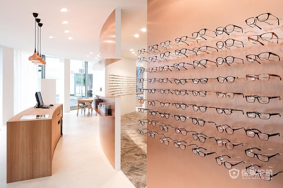 商場眼鏡店背景墻效果圖-保駕護航裝修網
