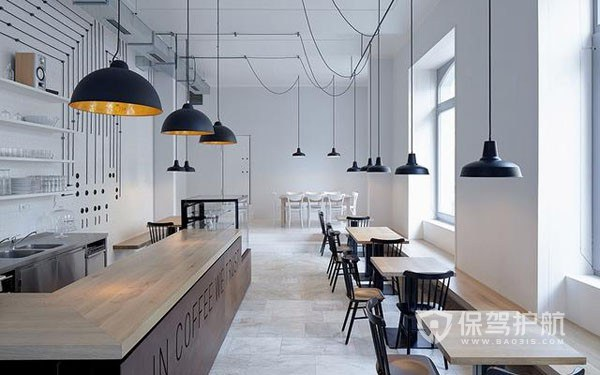 現代極簡風格咖啡店裝修效果圖