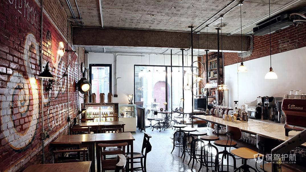 后现代工业风咖啡店装修效果图