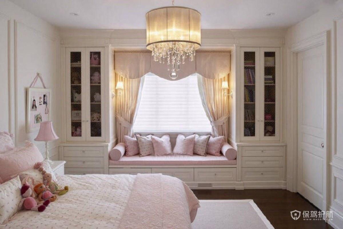 卧室白色飘窗柜子装修效果图