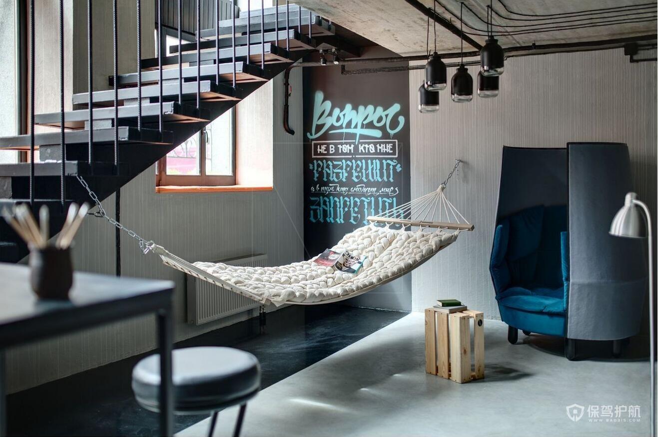 北欧风咖啡馆楼梯设计效果图