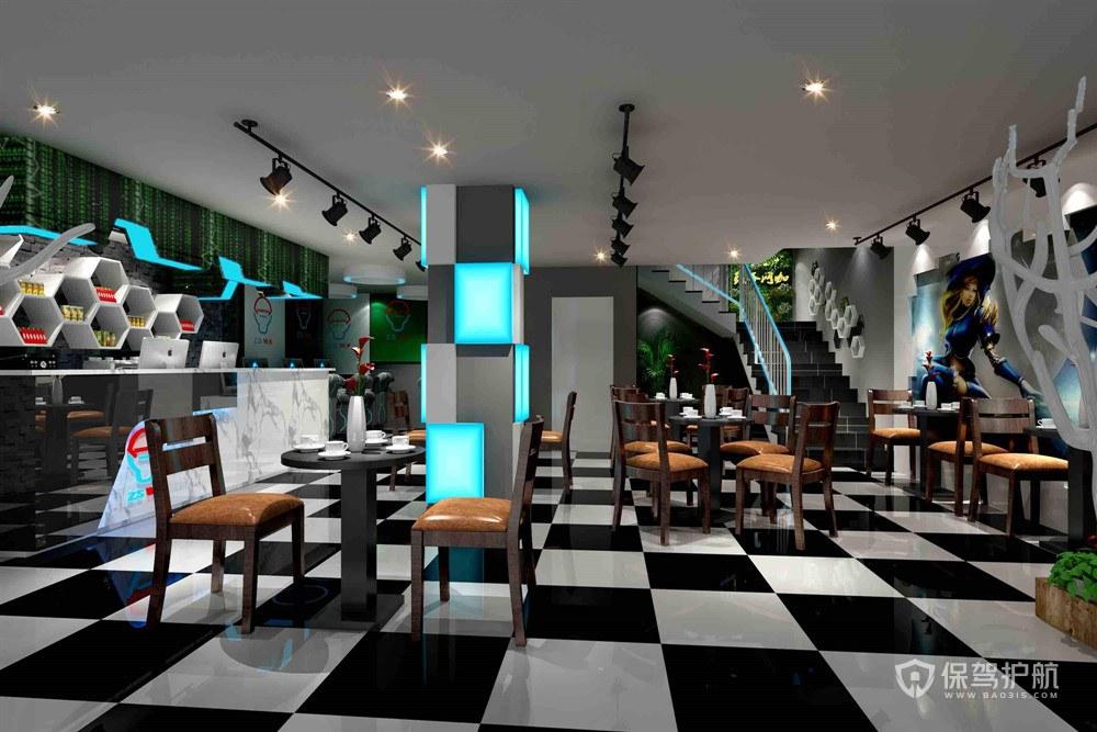 黑白简约餐厅装修效果图