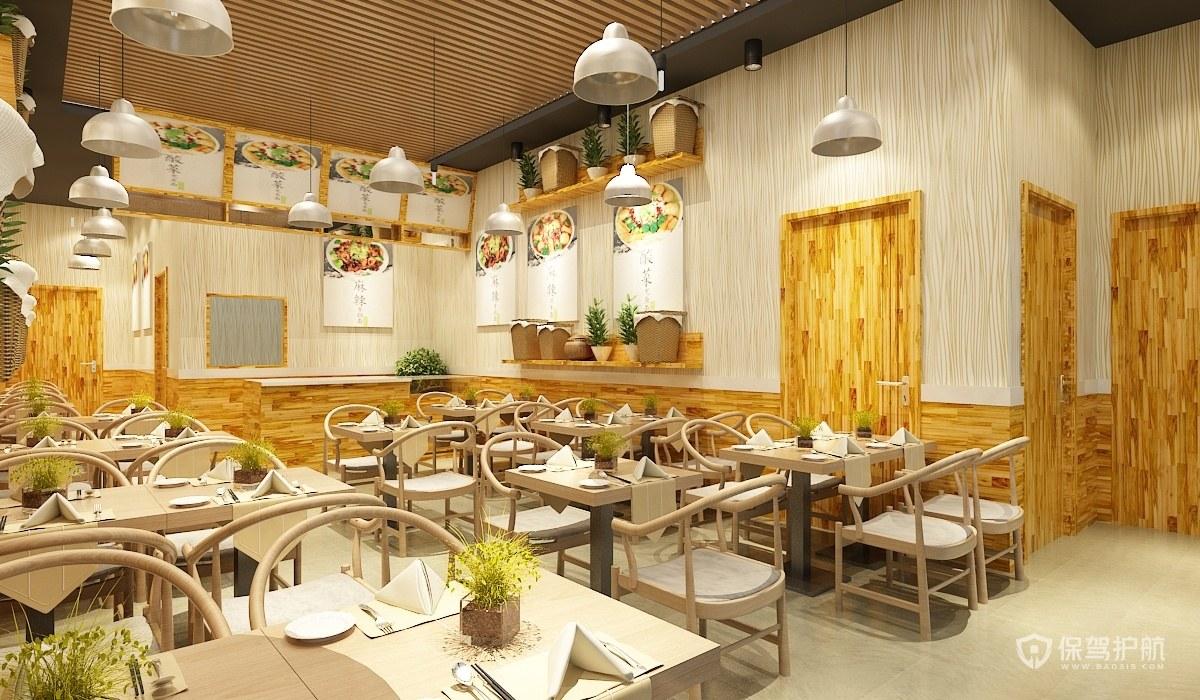 现代田园风茶餐厅装修实景图
