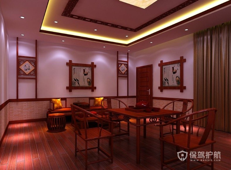 中式古典茶室装修效果图