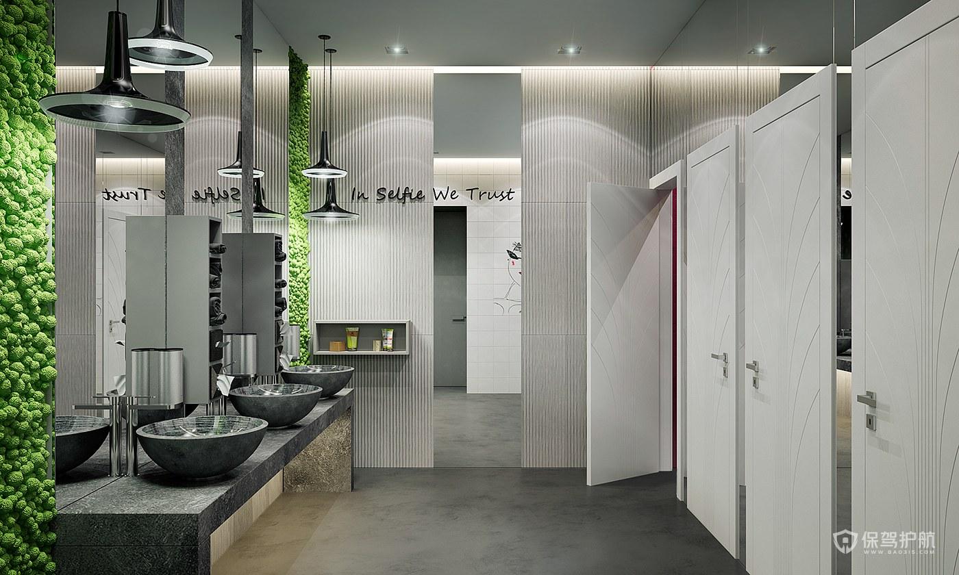 工业风咖啡馆卫生间装修图