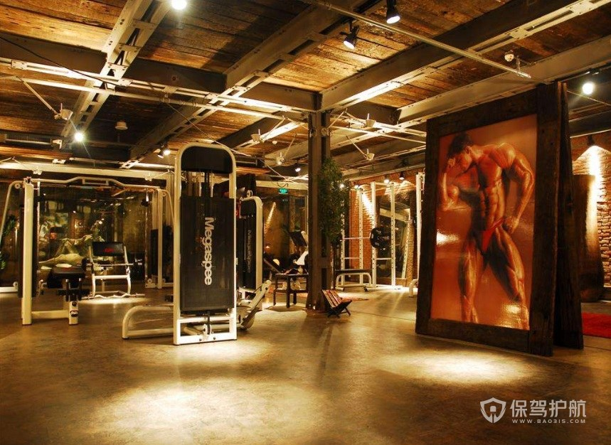 工業風健身房裝修效果圖