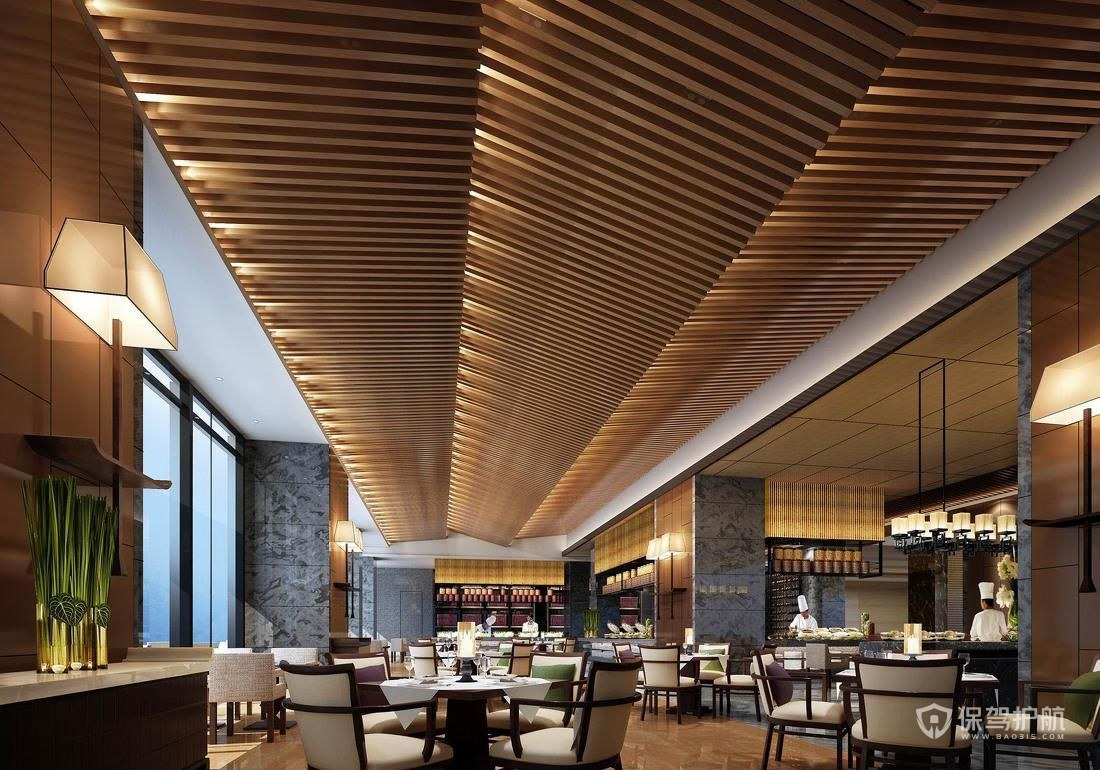 现代五星级酒店餐厅装修效果图