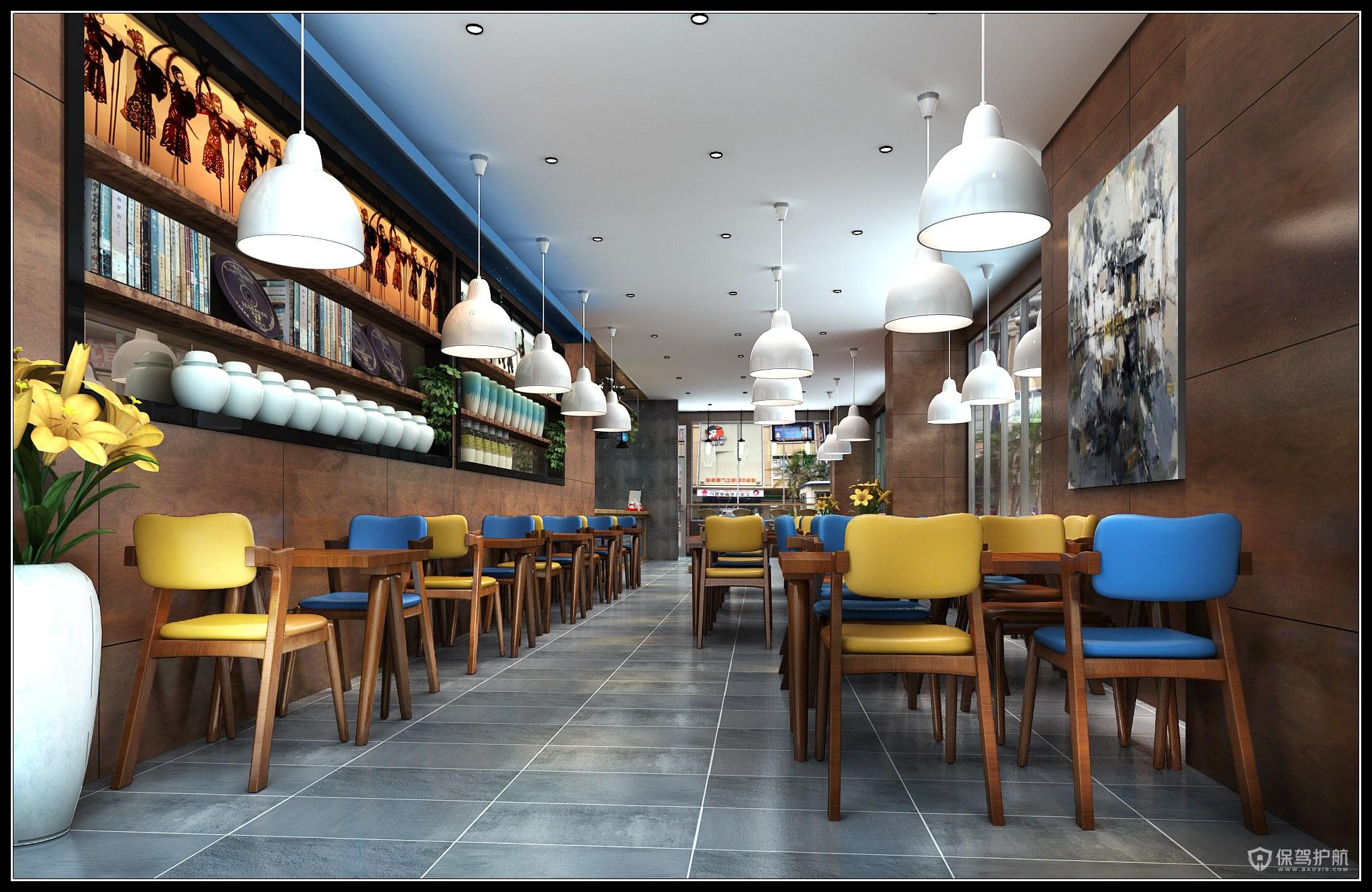 美式小清新咖啡厅装修实景图