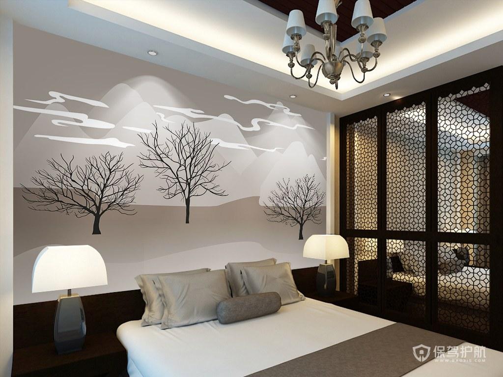臥室手繪背景墻-保駕護航裝修網