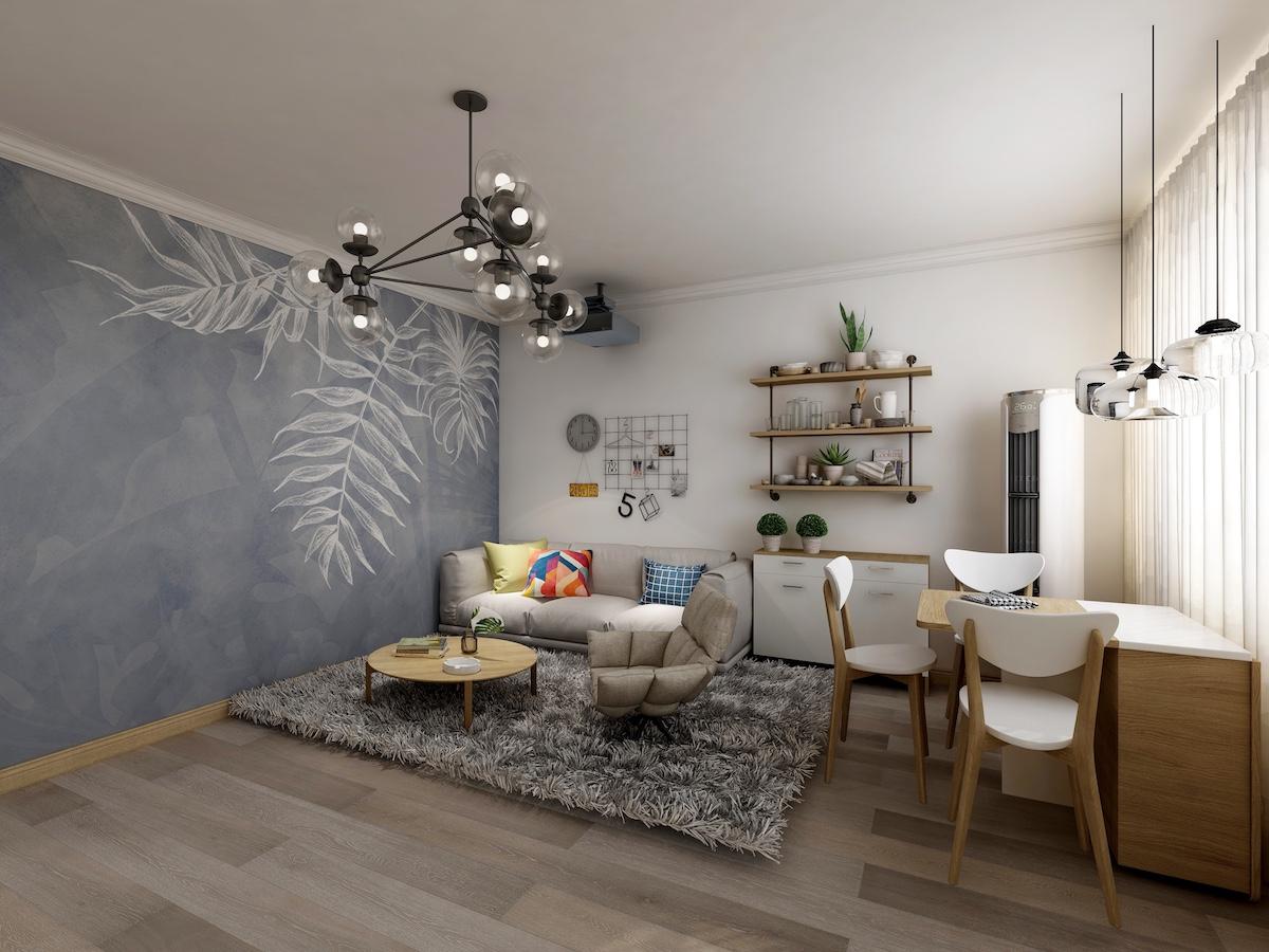 北江路小区80平二居室北欧家装效果图