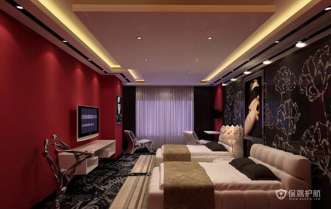 现代酒店卧室装修实景图