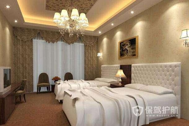 简欧酒店卧室装修实景图