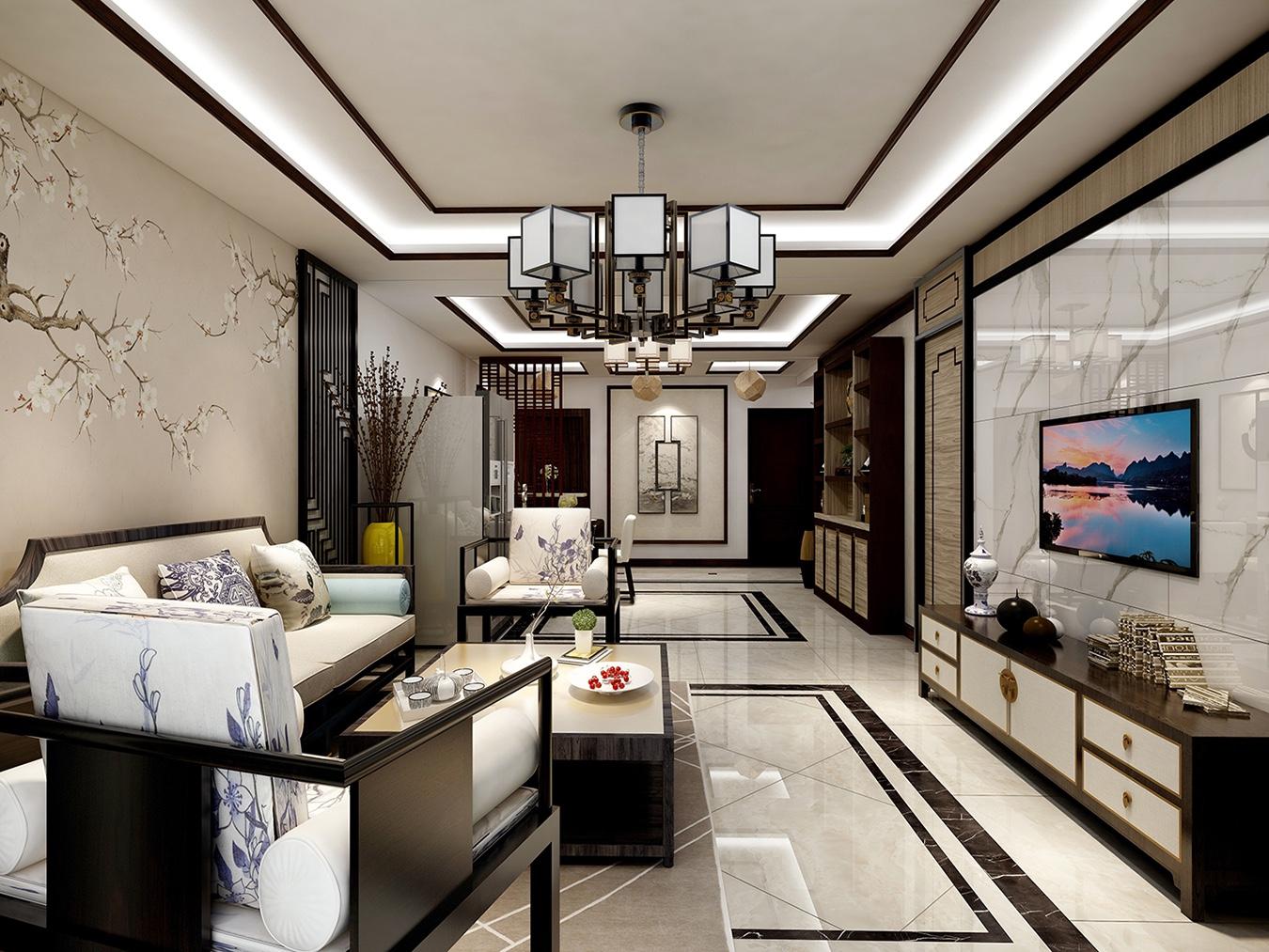 黄金怡海苑130平三居室新中式家装效果