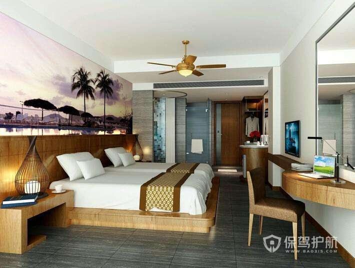 东南亚休闲风格酒店卧室图