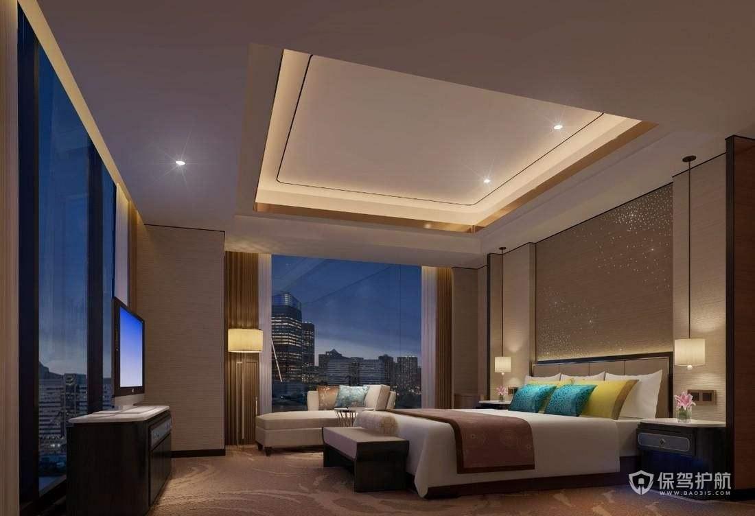 现代环绕落地窗酒店卧室装修实景图