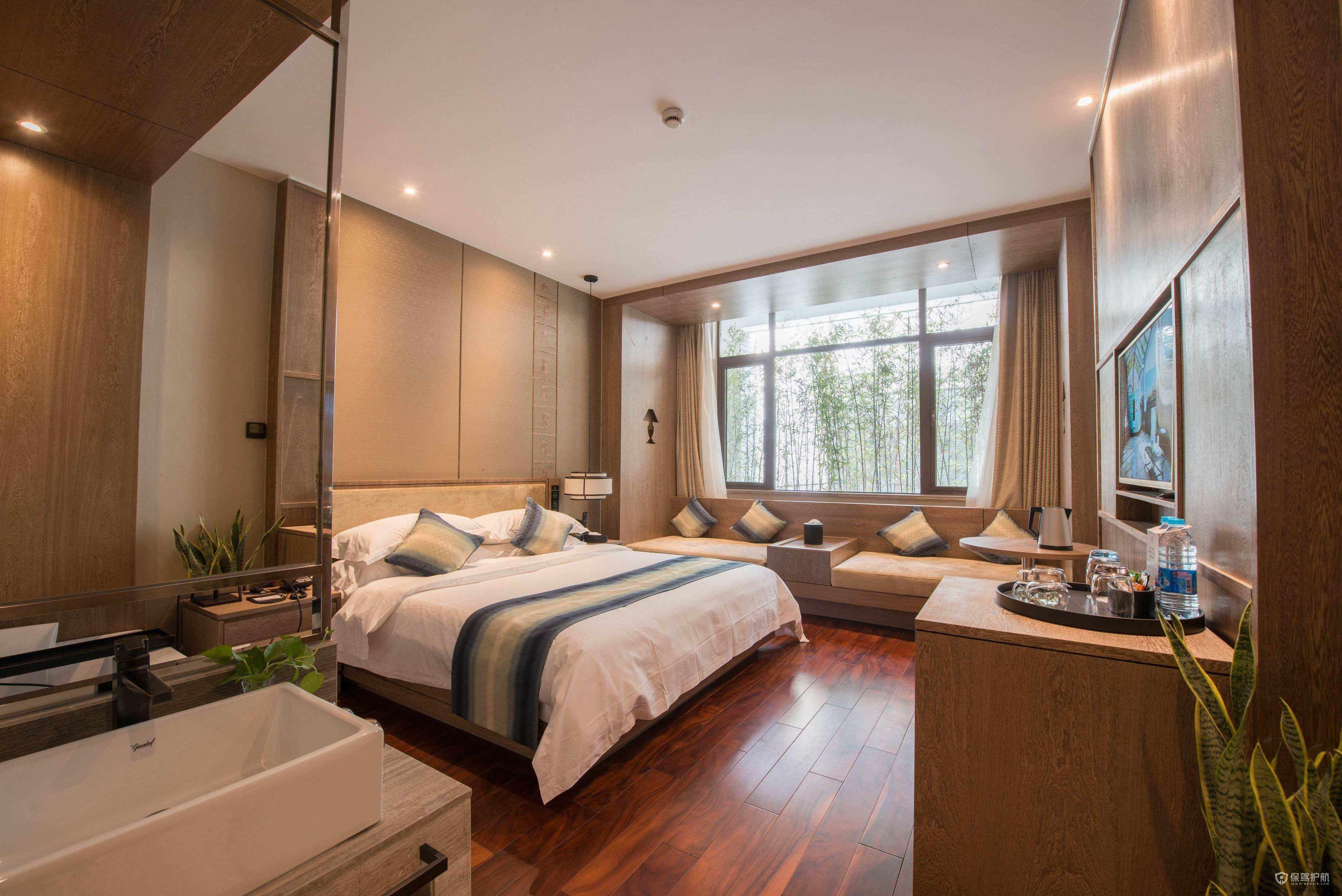 生态木地板卧室装修实景图