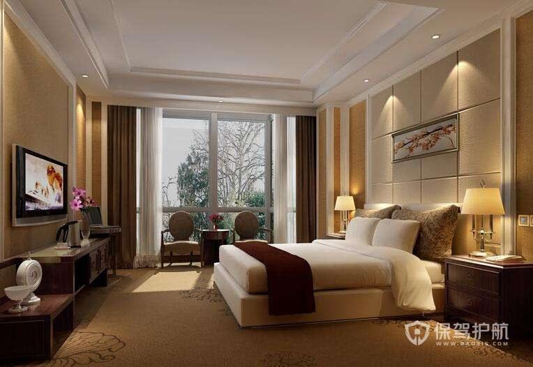 现代简约欧式酒店卧室装修实景图