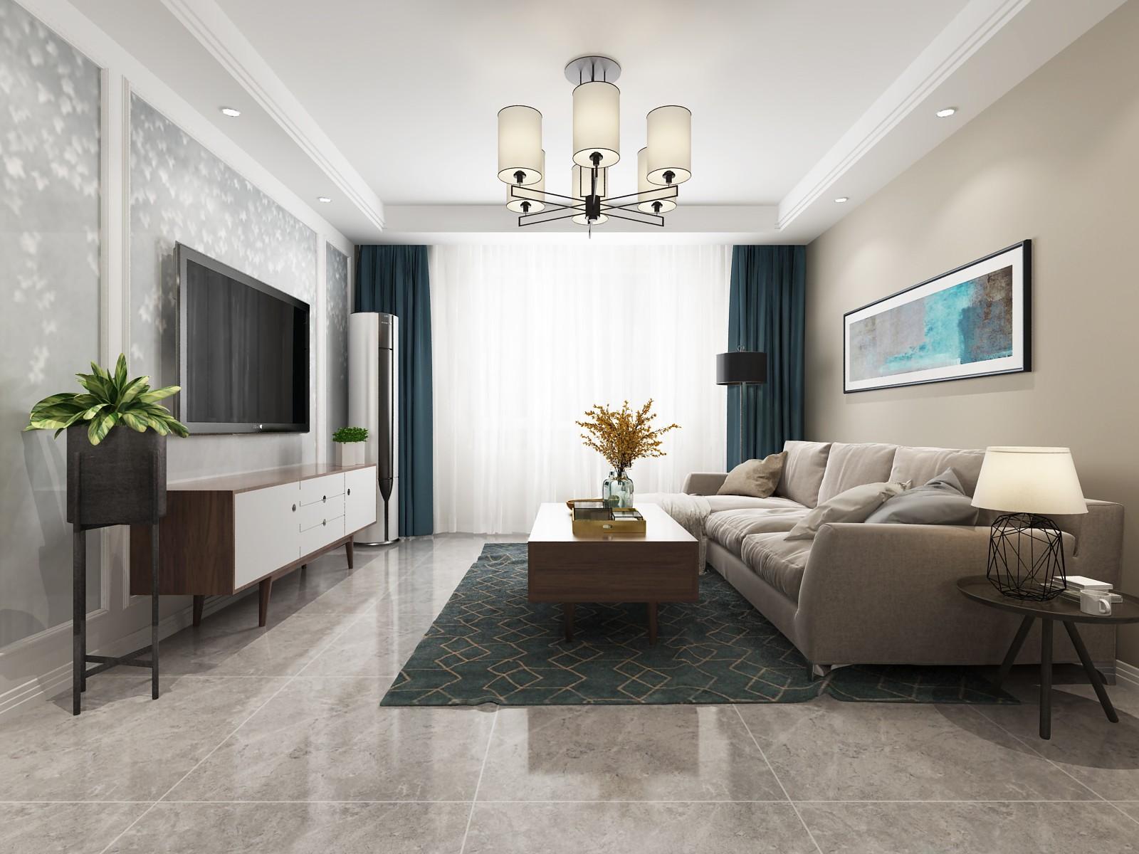 中华世纪城混搭风格三居室装修效果图