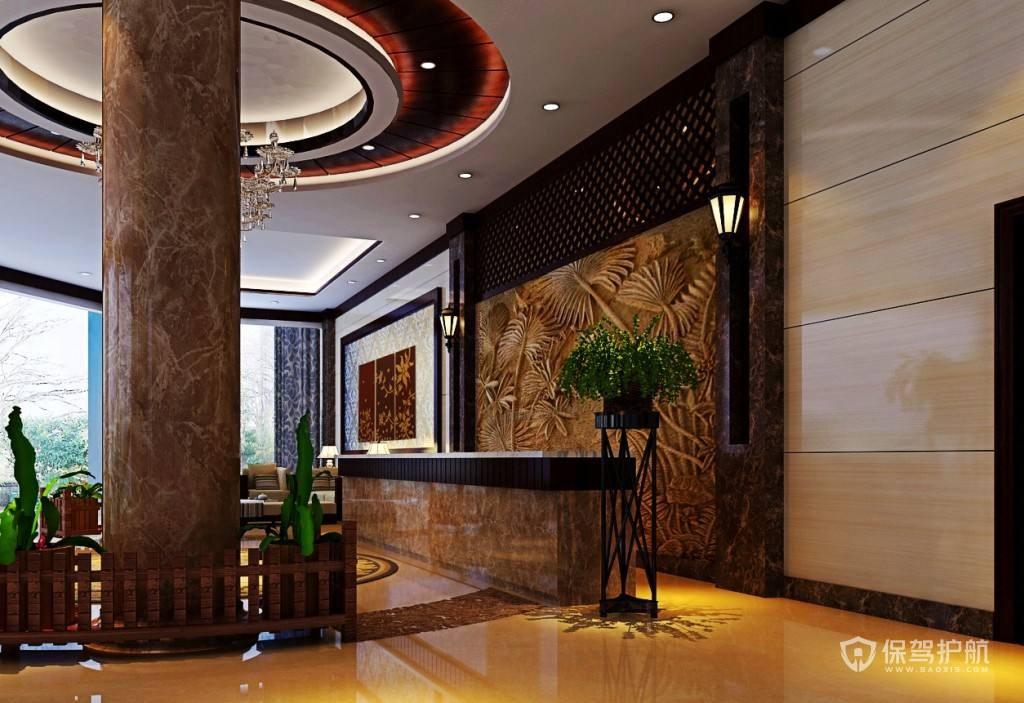 中式酒店大堂装修实景图