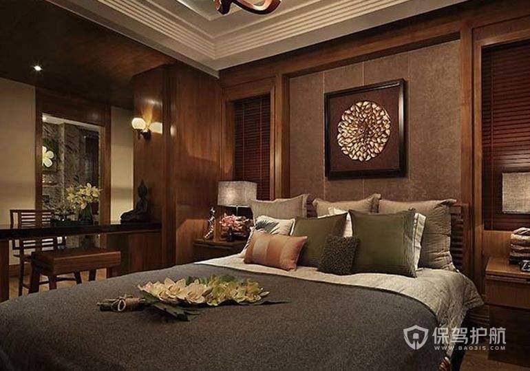 新中式酒店卧室装修实景图