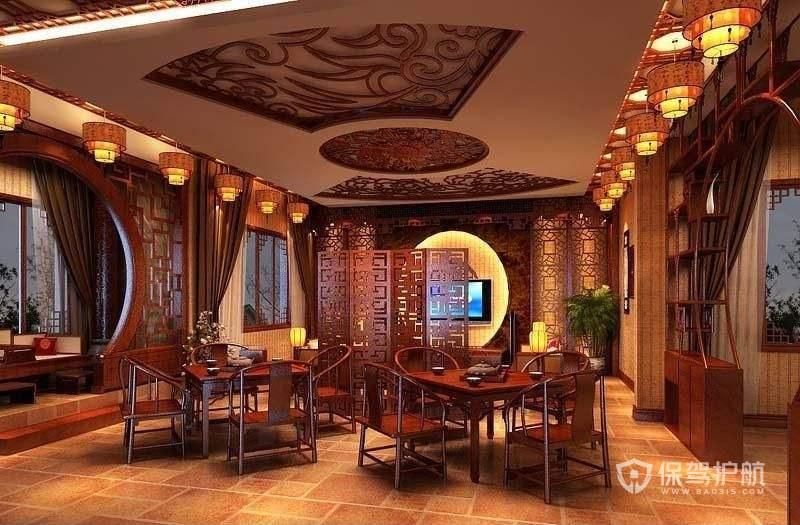中式古典餐厅吊灯装修实景图