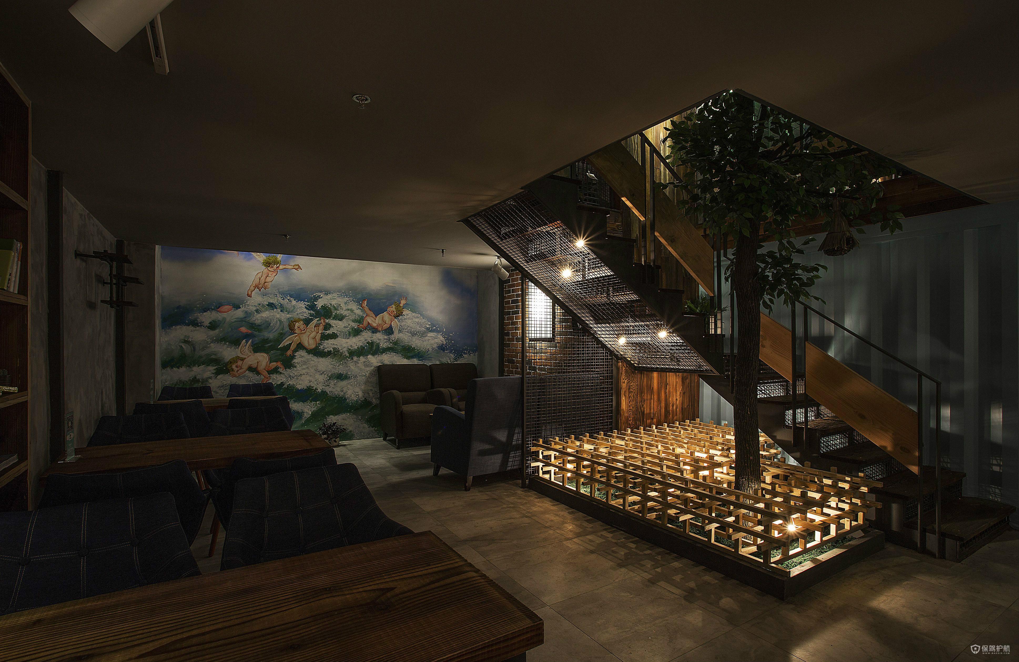 浪漫咖啡馆楼梯设计效果图