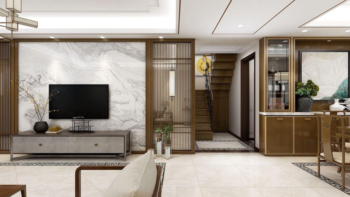 凭海临风五期165平叠拼别墅新中式家装效果图