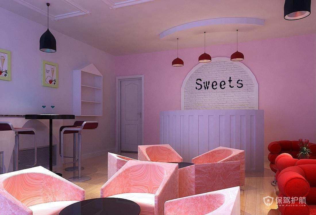 粉色少女风咖啡屋装修实景图
