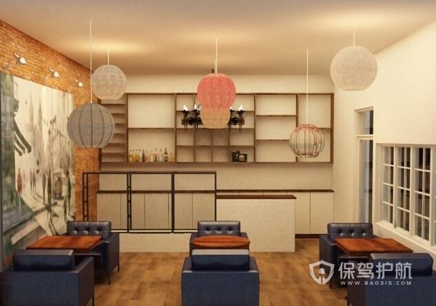 茶室创意吊灯装修实景图