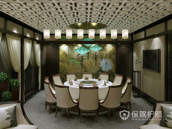 简洁中式餐馆装修设计效果图