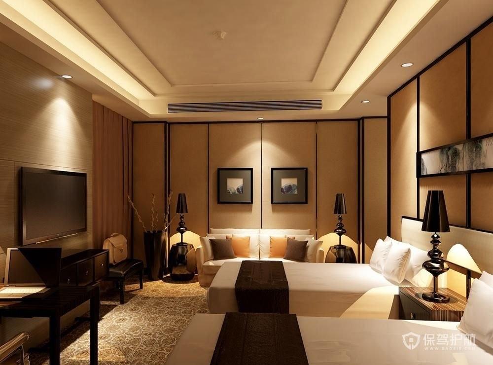 酒店卧室挂画装饰实景图