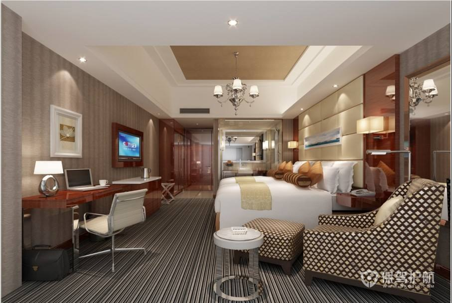现代简约休闲酒店卧室装修实景图