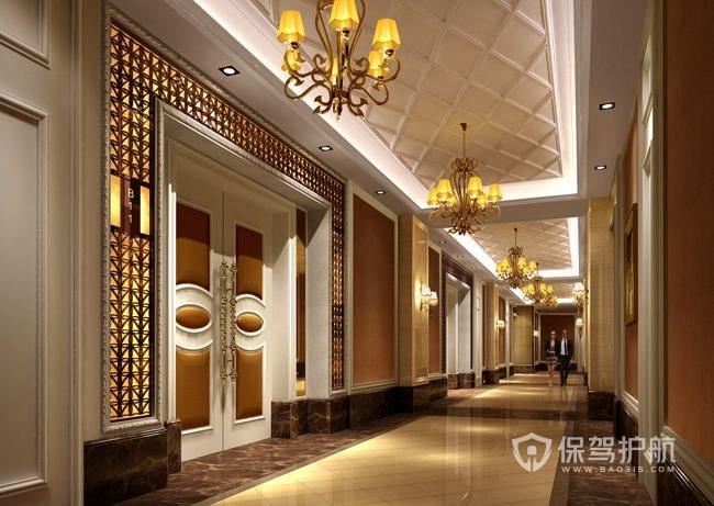 豪华欧式酒店走廊效果图