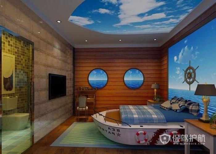 船屋主题酒店卧室装修实景图