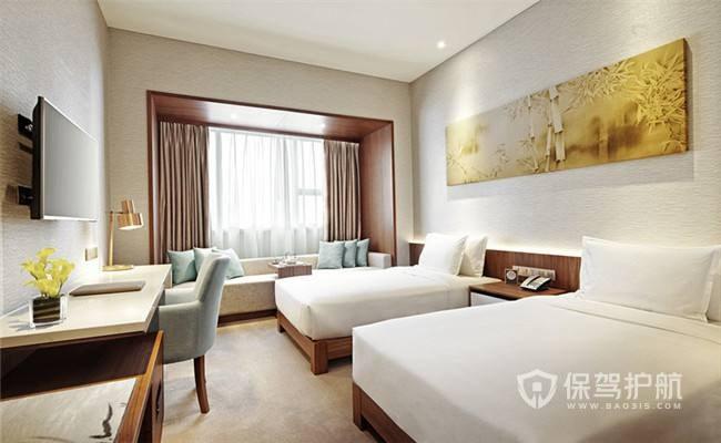 简约北欧小清新酒店卧室装修实景图