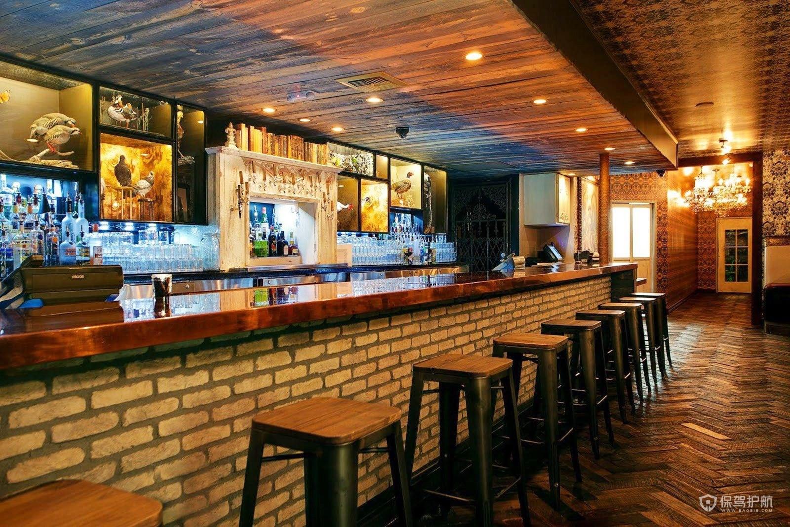 复古风古典酒吧吧台装修效果图