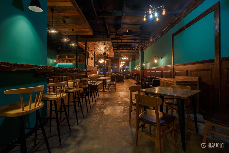 绿色复古风咖啡店装修效果图