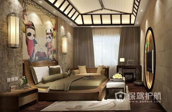 特色酒店卧室装修实景图