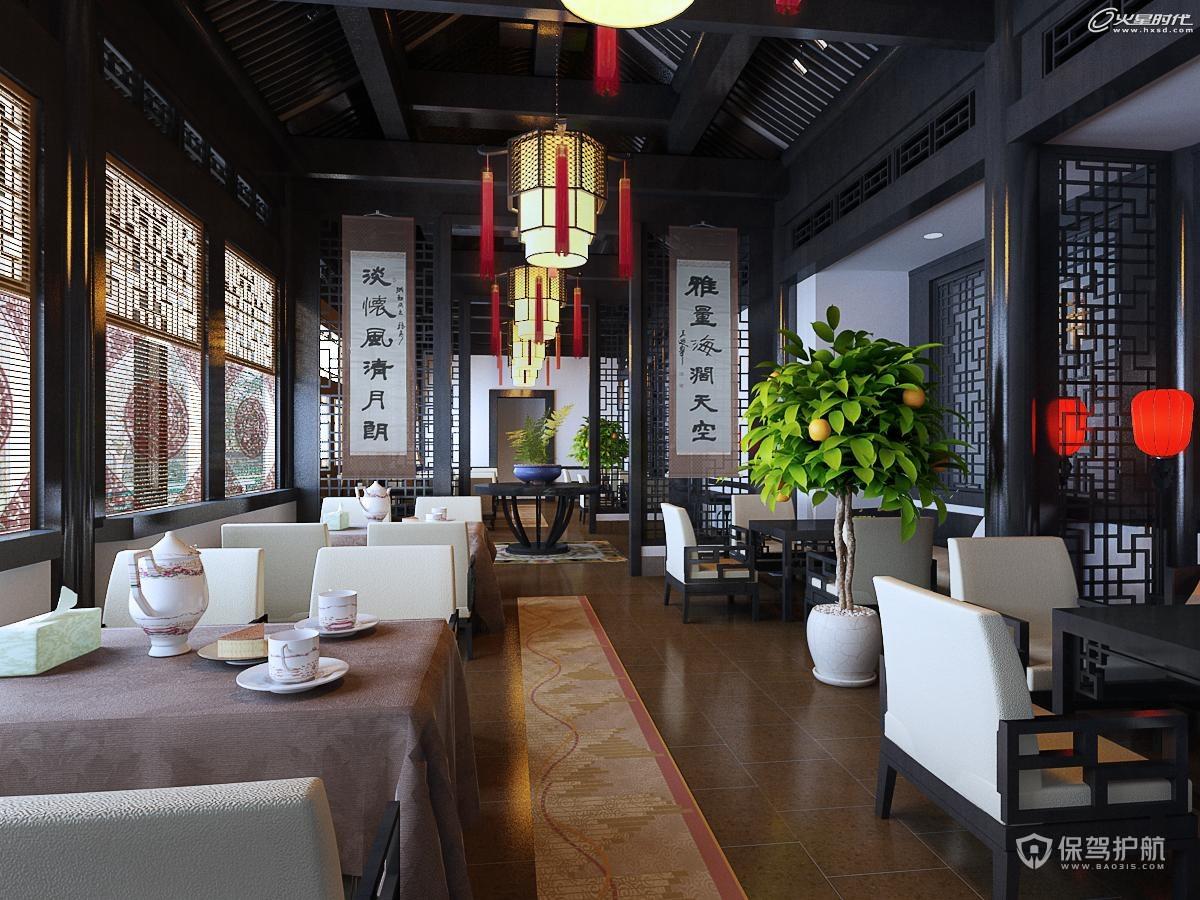 中式茶餐厅装修效果图