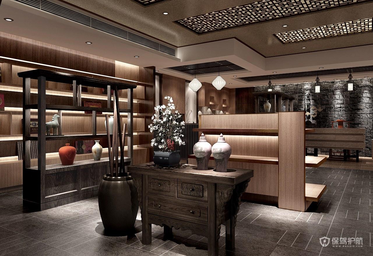 中式古典瓷器展廳布置效果圖